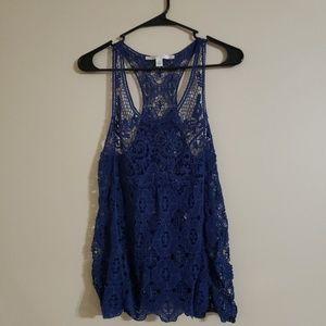 Lauren Conrad Blue Open Knit Crochet Tank Top